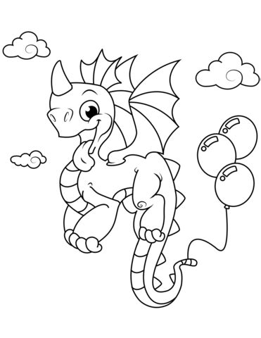 Cute Dragon with Balloons coloring page Free Printable
