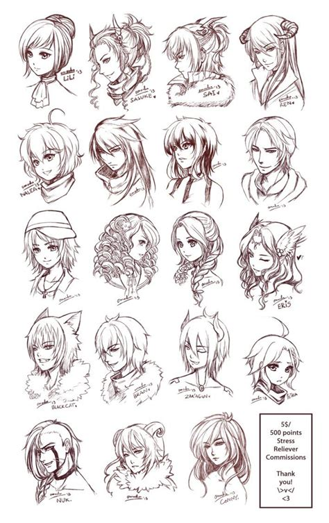 inspiration hair expressions manga art drawing