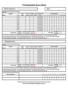 Printable Basketball Score Sheet