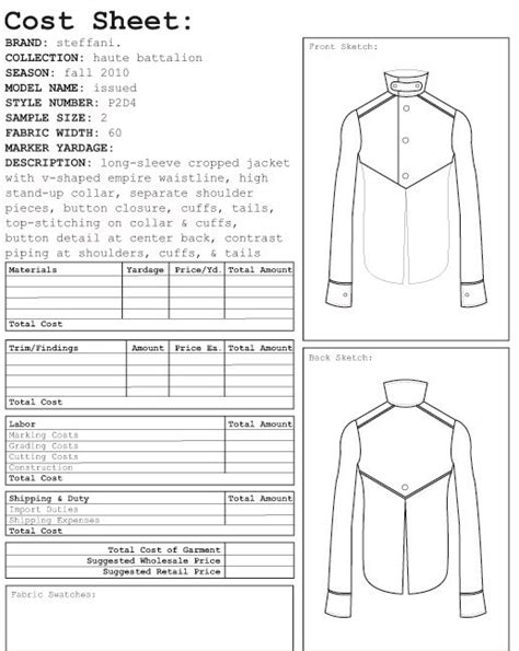 garment costing sheet google search spec sheets