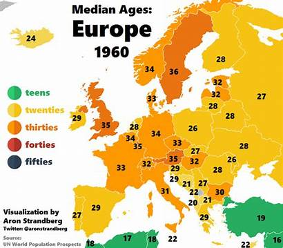 Europe Age Map Median Animation 1960 2060