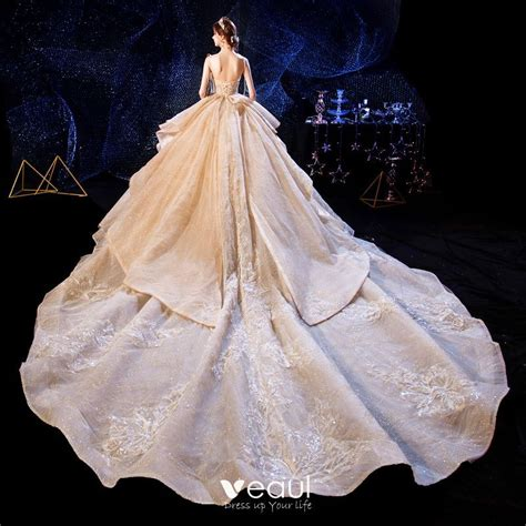 Luxury / Gorgeous Champagne Wedding Dresses 2020 Ball Gown ...