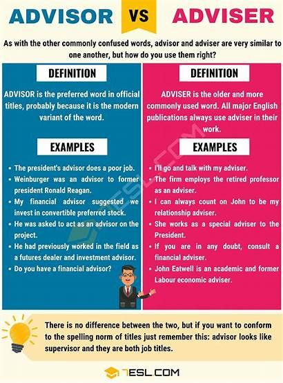 Advisor Adviser Difference Between English 7esl