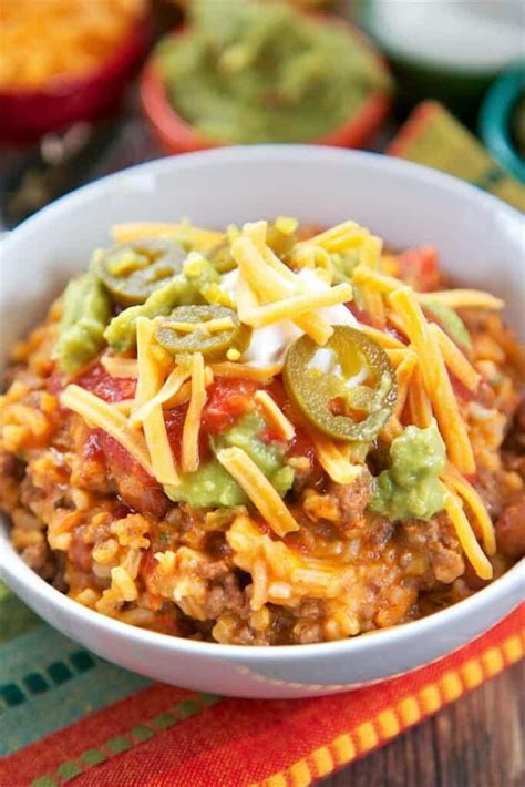 Taco Rice Bake - an easy one-pan Mexican casserole. Ground ...