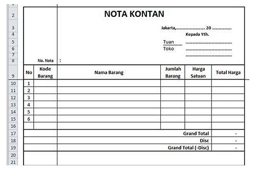 Download Form Nota Kontan Nightermembsi