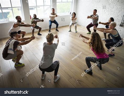 Diversity People Exercise Class Relax Concept Stock Photo