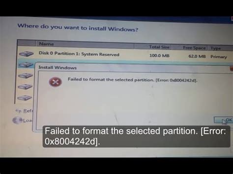 failed  format  selected partition error xd