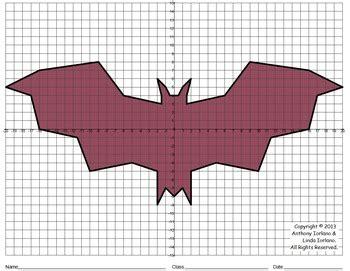 halloween bat coordinate graphing coordinate drawing tpt