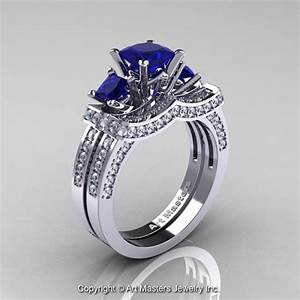 French 14k white gold three stone princess blue sapphire for Sapphire engagement ring and wedding band set