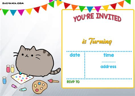 Free Printable Pusheen Birthday Invitation Template Molding For Kitchen Cabinets Kitchens With Dark Wood Replacement Doors Home Hardware Inexpensive White Colors Medium Bar Handles Inserts