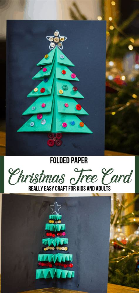 See more ideas about christmas card crafts, crafts, christmas cards. Christmas Tree Card Craft for Kids Using Folded Paper - Someone's Mum