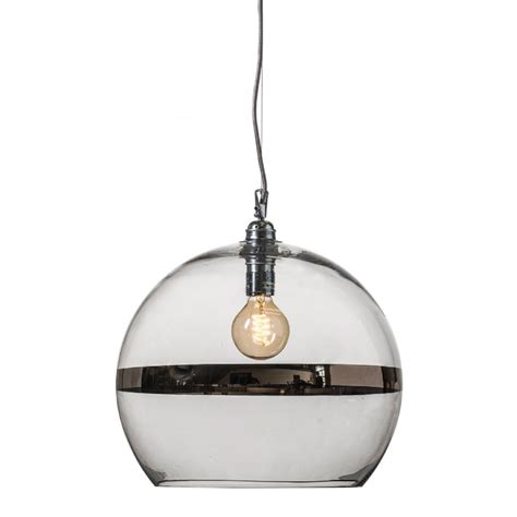 large clear glass ceiling pendant with metallic platinum