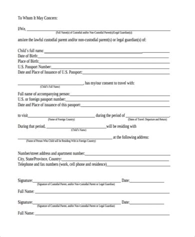 child travel consent form sample   documents