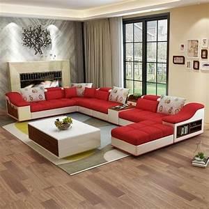 Luxury, Modern, U, Shaped, Leather, Fabric, Corner, Sectional, Sofa, Set, Design, U2013, My, Aashis