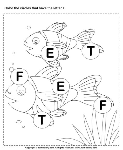 identifying letter f worksheet turtle diary