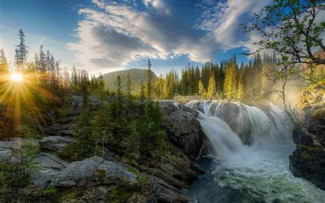 Waterfall Sunset River Forest Sky Nature Landscape Sun Rays Trees Mist Hill Clouds
