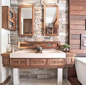 salle de bain rustique tout de pierre et de bois salle With salle de bain bois pierre