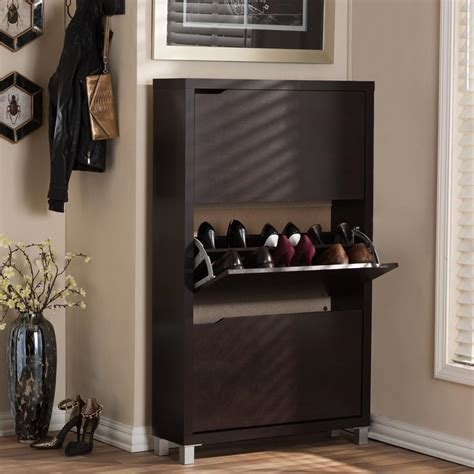 Shoe Cabinet Wood by Baxton Studio Simms Wood Modern Shoe Cabinet In Brown