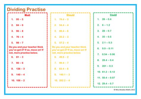 multiplying and dividing decimals differentiated worksheet