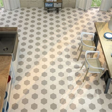 cuisine tomette carrelage hexagonal blanc sol et mur parquet carrelage