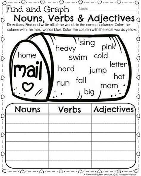 1st grade math and literacy worksheets for february nouns verbs adjectives literacy