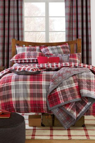 red  grey check bed set   bed linens luxury