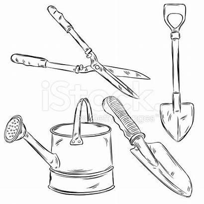 Tools Gardening Drawings Detailed Drawing Garden Vector