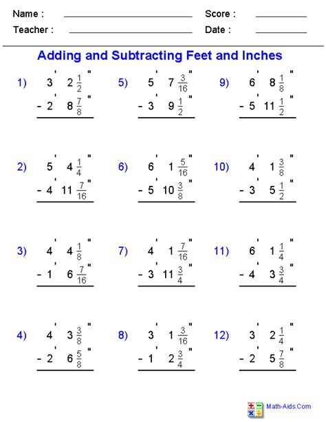adding  subtracting fractional feet  inches