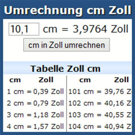umrechnung cm zollinch  rechner und tabelle