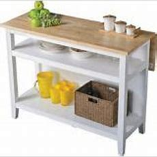 For Living Kitchen Island With Folding Leaf, White