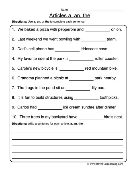 Articles Worksheet 2  Articles A, An, The