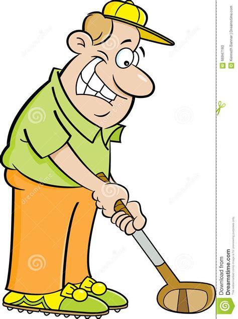 funny cartoon man playing golf stock image cartoondealer