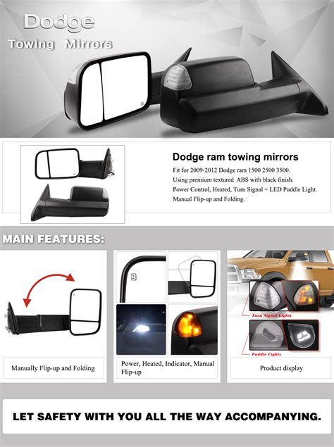 dodge towing mirrors for 09 12 dodge ram 1500 10 12 ram 2500 3500 truck mirrors