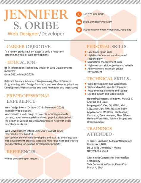 Visually Appealing Resume Template resume templates you can jobstreet philippines