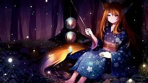 17, Kitsune, Anime, Girl, Wallpaper