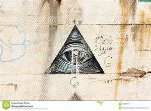 Black Graffiti On A White Wall; All Seeing Eye Stock Photo ...