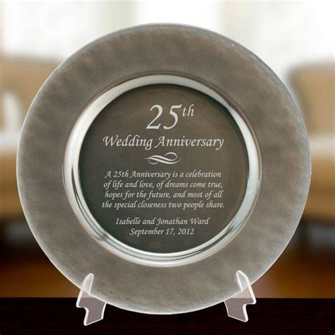 personalized silver glass  anniversary plate
