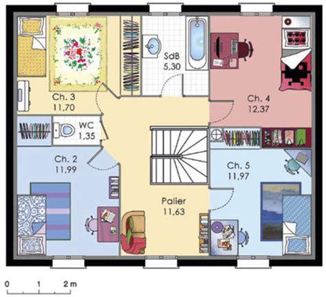maison  etage  detail du plan de maison  etage