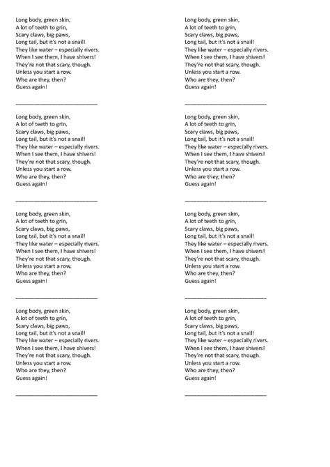 crocodile poem riddle