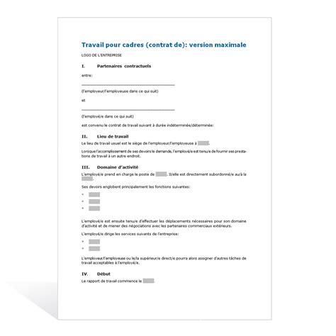 contrat de travail cadre contrat de travail cadres