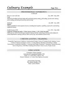 resume for culinary arts culinary resume exles culinaryguide101