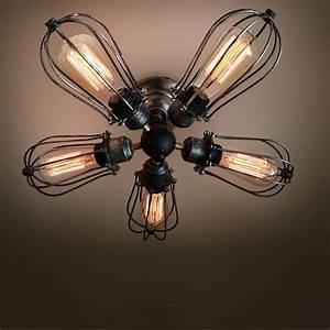 Ceiling fan with light bulb : Arm industrial ceiling light edison bulb lamps