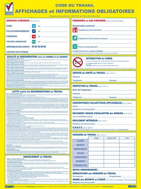 affichage obligatoire code du travail plastifi 233 et effa 231 able 233 dition 2017 www ascap25