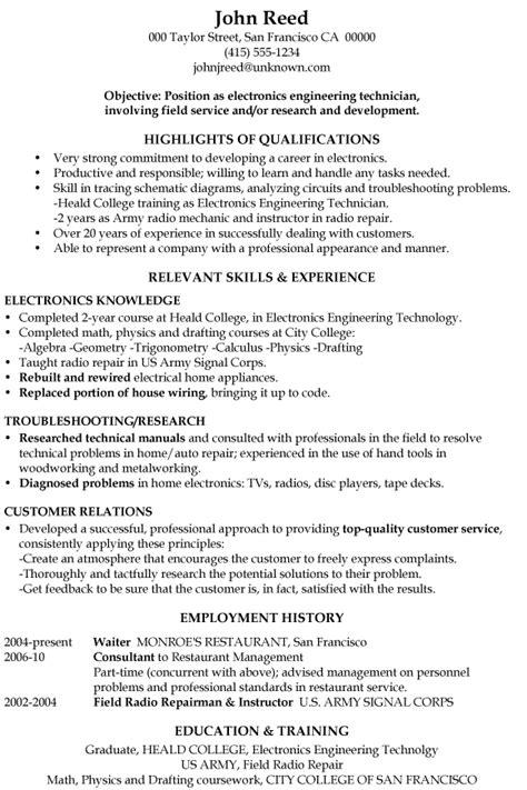 resume sample electronics engineering technician