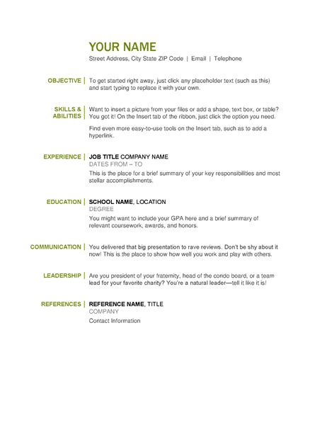 Free Easy Resume Templates by Basic Resume