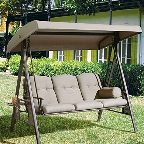abba patio 3 seat outdoor canopy porch swing hammock with