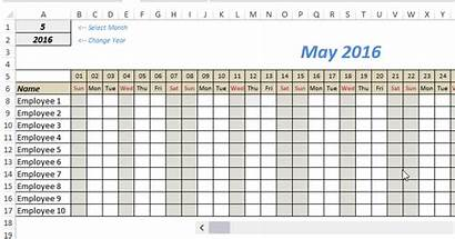 Template Roster Excel Monthly Tracker Vacation Leave