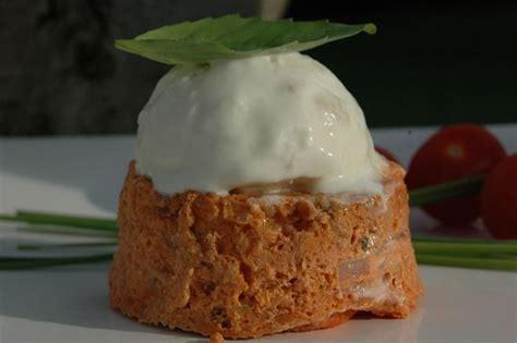 balade en cuisine petits flans tomates basilic et sorbet chèvre balade en