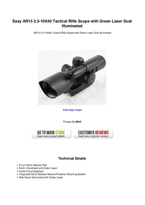 Easy Ar15 25 10 X40 Tactical Rifle Scope With Green Laser