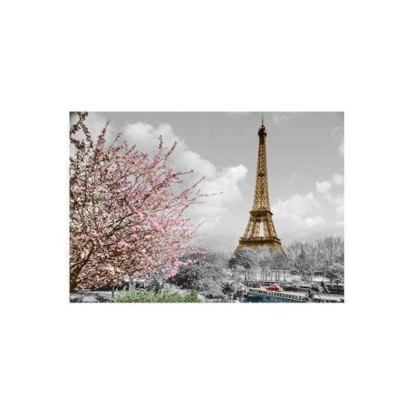Postcard Eiffel Tower with pink tree   Souvenirs of Paris